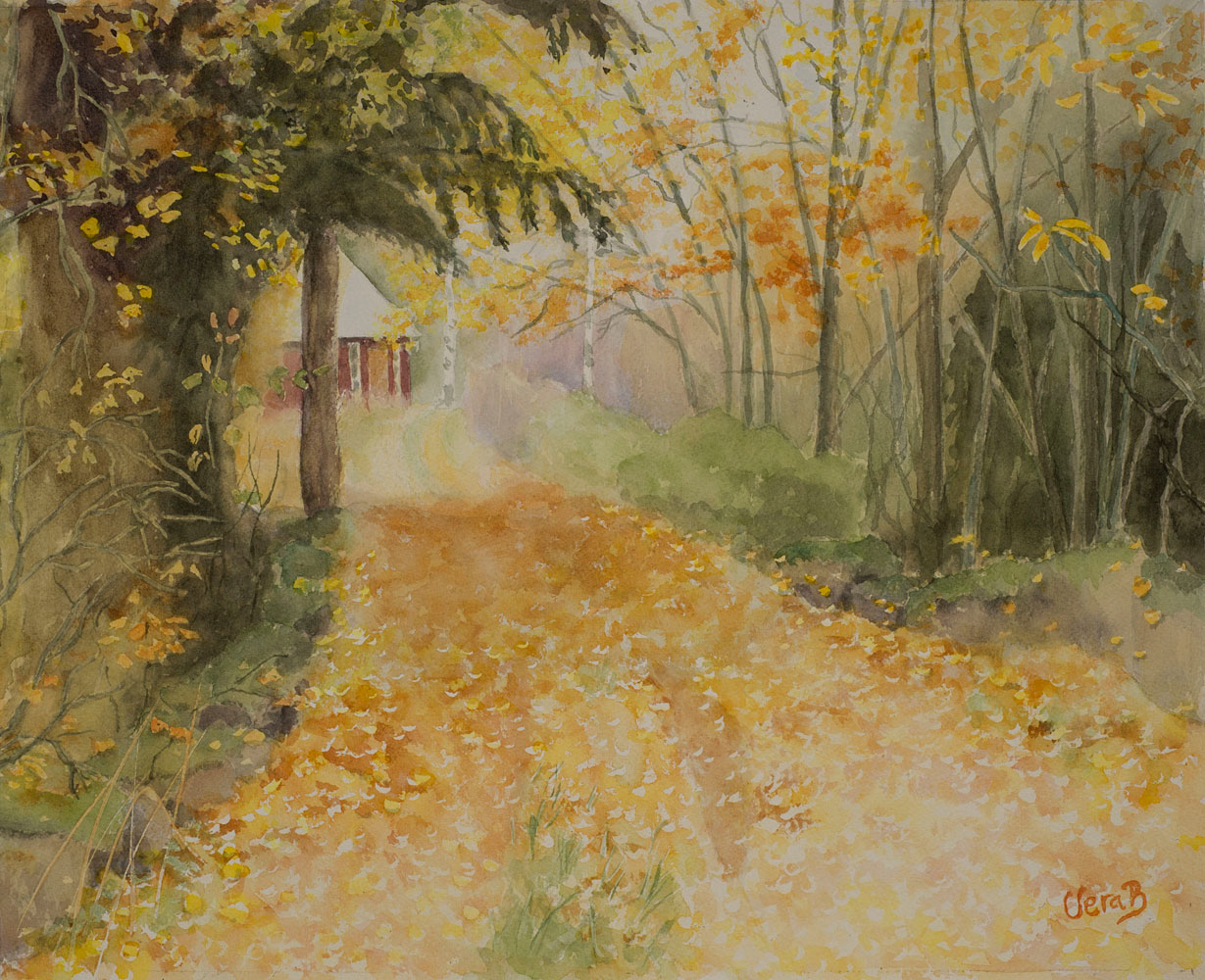"Autumn road in Småland, Sweden 22x38 cm (12,8x15,2""), 2015. 295€"