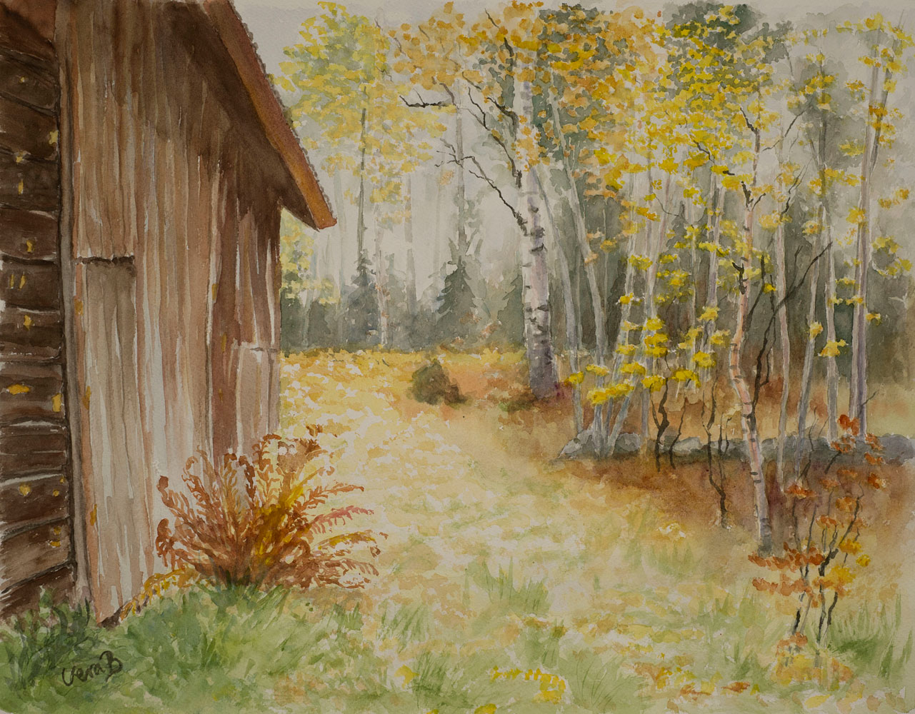 "Autumn road in Norrland, Sweden. 31x42 cm (12,4x16,8""), 2015. 295€"