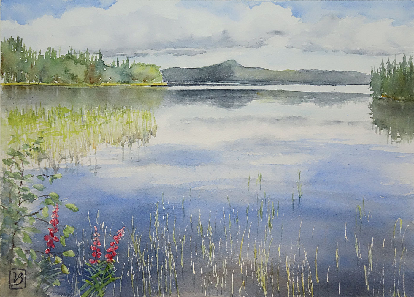 "The Summer Lake. Björsjön, Jämtland, Sweden. 25x35 cm (10x14"") on Arches rough 300gsm 2017. SOLD as a commissioned work."