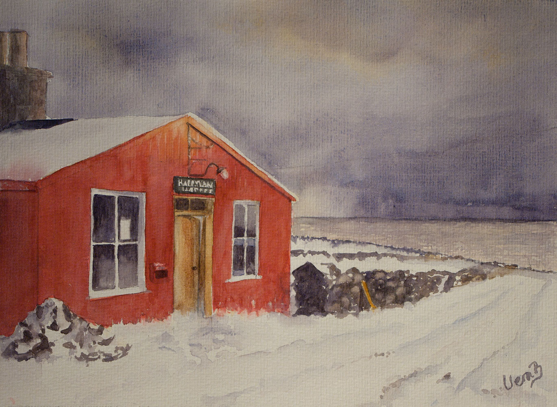 "Haroldswick postoffice, Shetland 22x30 cm (8,8x12"") on Hahnemühle 300gsm 2016. 175€"