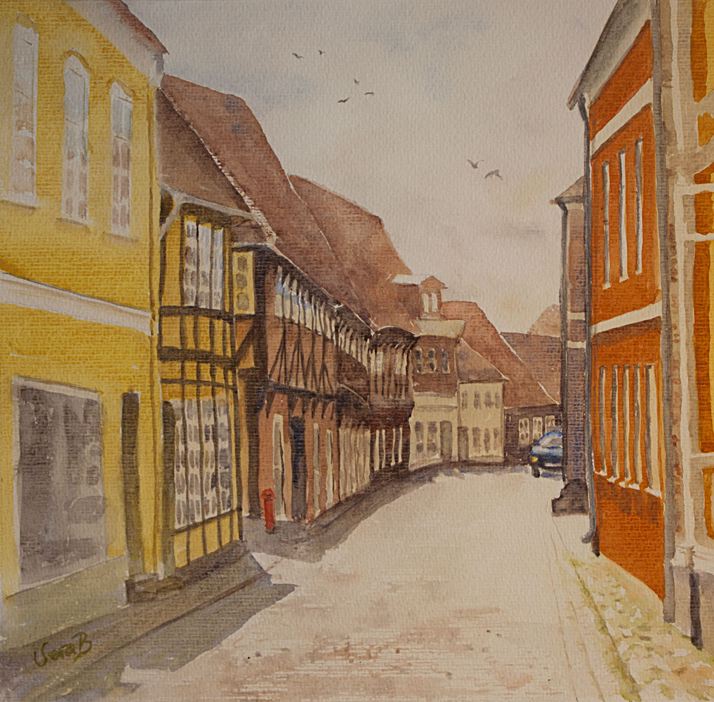 "Street in Ribe, Denmarks oldest capitol. 31x32 cm (12,4x14"") on Arches Not 300gsm, 2016. Framed, 269€"