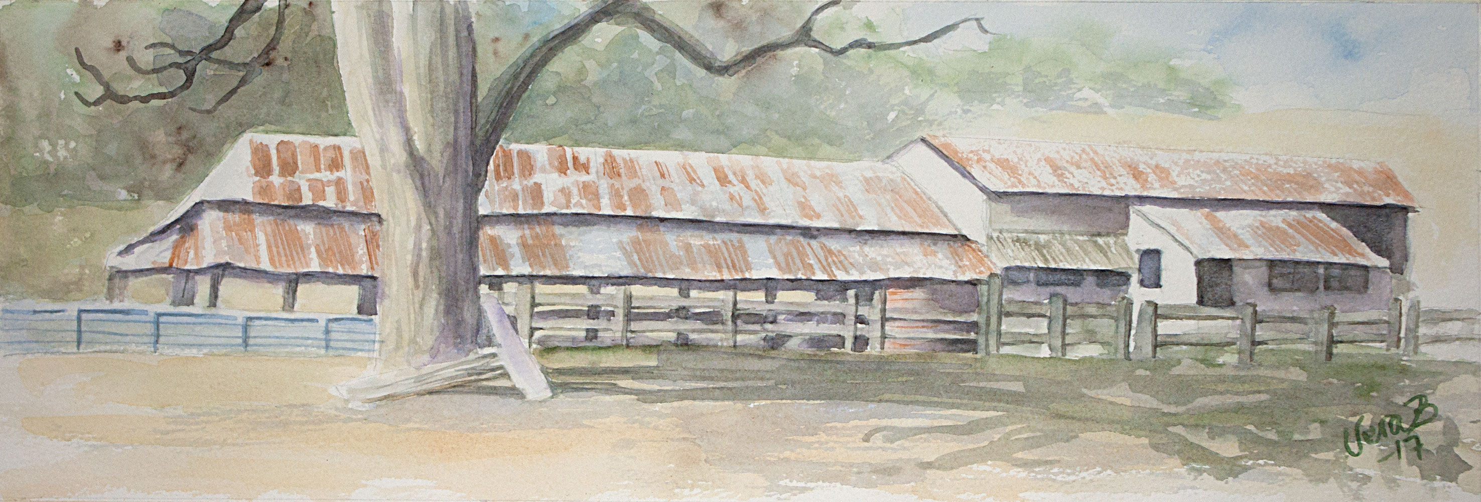 "Australian shearing shed. 16x50 cm (6,4x20"") on Arches rough 300gsm 2017. 135€"