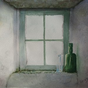 "Window with bottles. 35x35 cm (14x14"") 2016. SOLD"