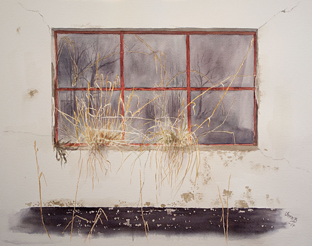 "Window with grass. Windows series 5/5 on Lessebo paper. A typical Danish barn window. 46x59 cm (18,4x23,6"") on Lessebo 420 gsm 2017. 725€"