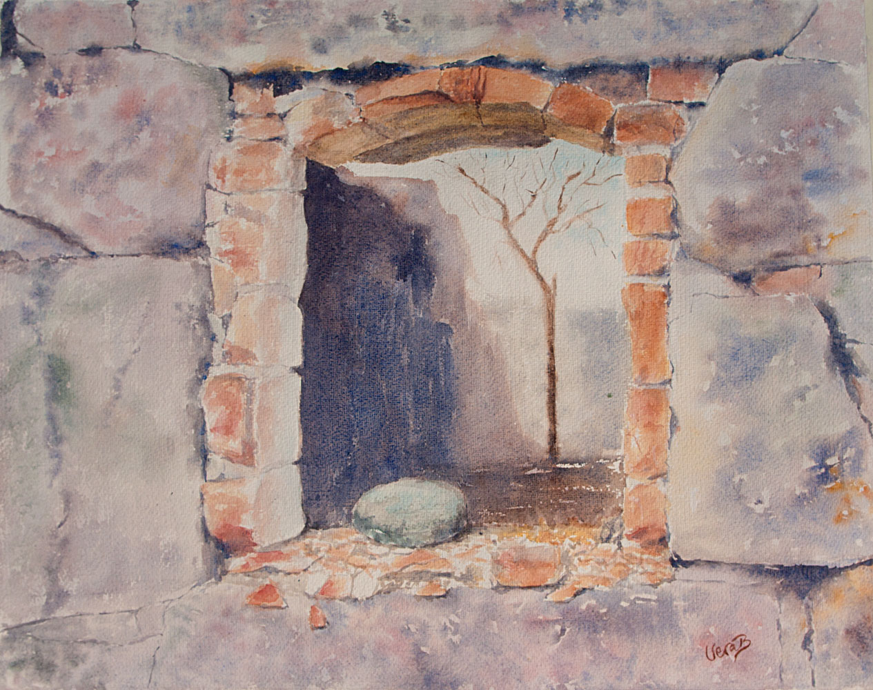 "Window with stone. Windows series 1/5 on Lessebo paper series. A ruin from a barn in middle Sweden 48x60 (19,2x24"") on Lessebo 420 gsm 2016. 725€"