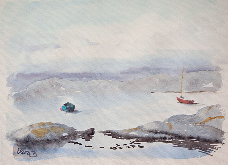 """Blue and red boats. Käringön, Sweden. 24x34 cm (9,6x13,6"""") on Arches Not 300gsm 2016. 228€"""