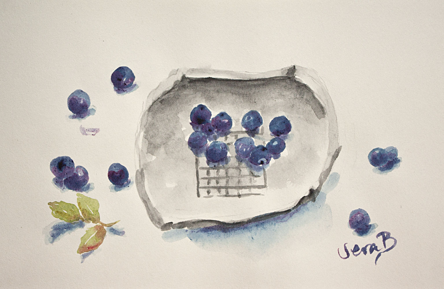 "Blue berry still life sketch. Painted with fresh juice from blueberries. 12x20 cm (4,8x8"") on acid free sketchbook paper. 2016. SOLD"