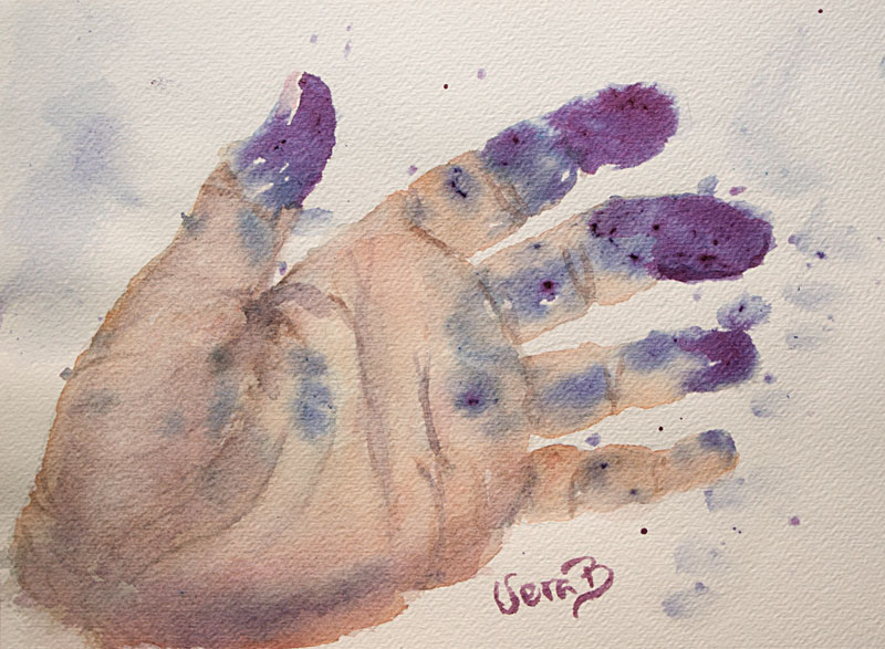 "Picking blueberries. Purple painted with mashed fresh blueberries. 16x23 cm (6,4x9,2"") on watercolour paper 2016."