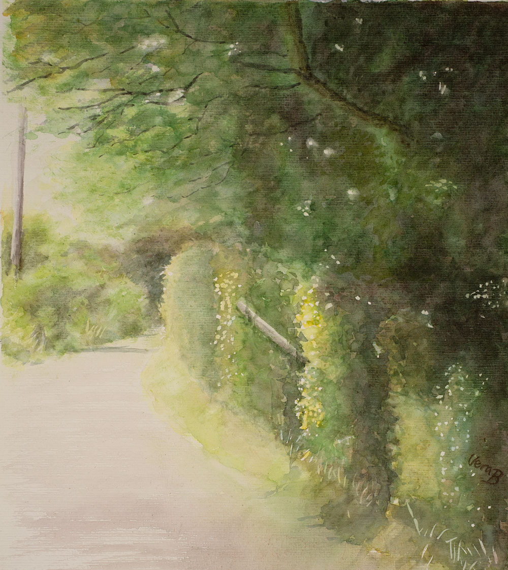"Country road in Dorset, England. 37x33 cm (14,8x13,2"") on Arches Not 300gsm 2015. 295€"