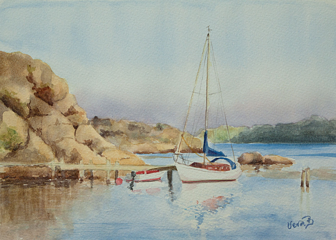 """Evening harbour. Boxvik, Orust, Sweden. 24x34 cm (9,6x13,6"""") on Arches Not 300gsm 2016. 228€"""