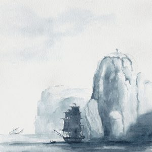 "Ship at Capri, from painting by Kniep 1787. 30x22 cm (12x8,8"") Hahnemühle 300gsm 2016."