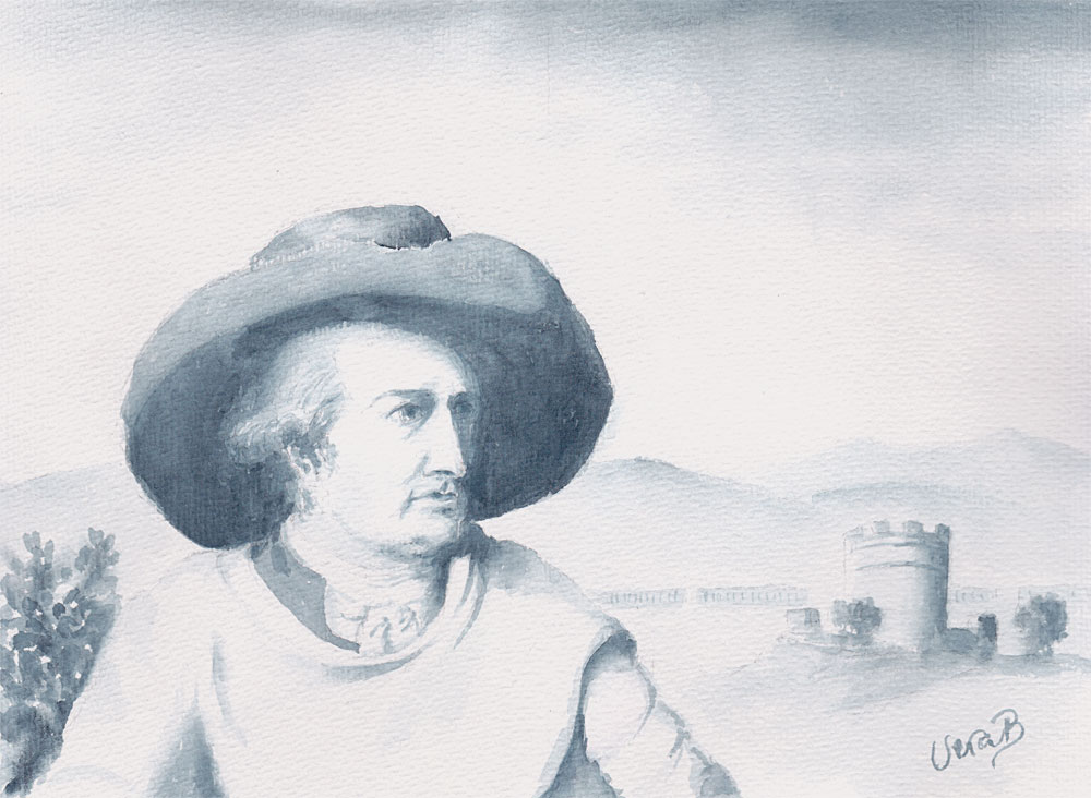 "J.W. von Goethe, portrayed by Tischbein in the countryside outside Rome. 22x30 cm (8,8x12"")"
