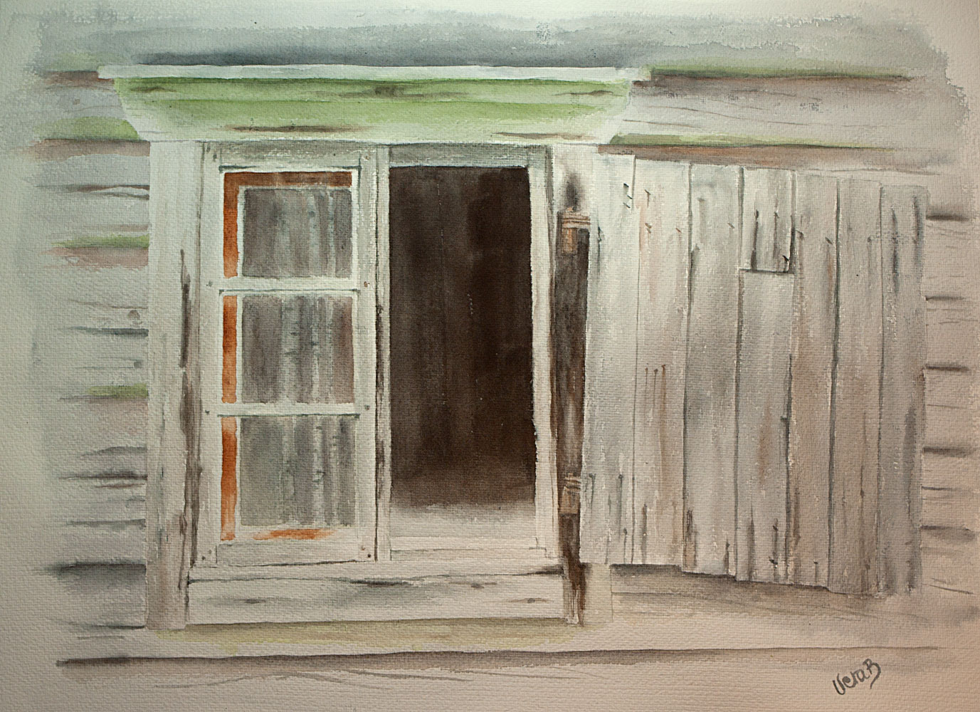 "Open window. Windows series 3/5 on Lessebo paper series. A window in decay from northern Sweden. 47x60 (18,8x24"") on Lessebo 420 gsm 2016. 725€"