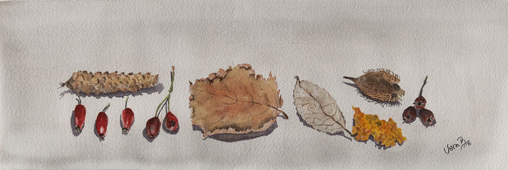 "By the hedgerow II. Crabapples. 15x50 cm (6x20"") on Arches rough 300gsm 2017 (last days of dec-16). 205€"