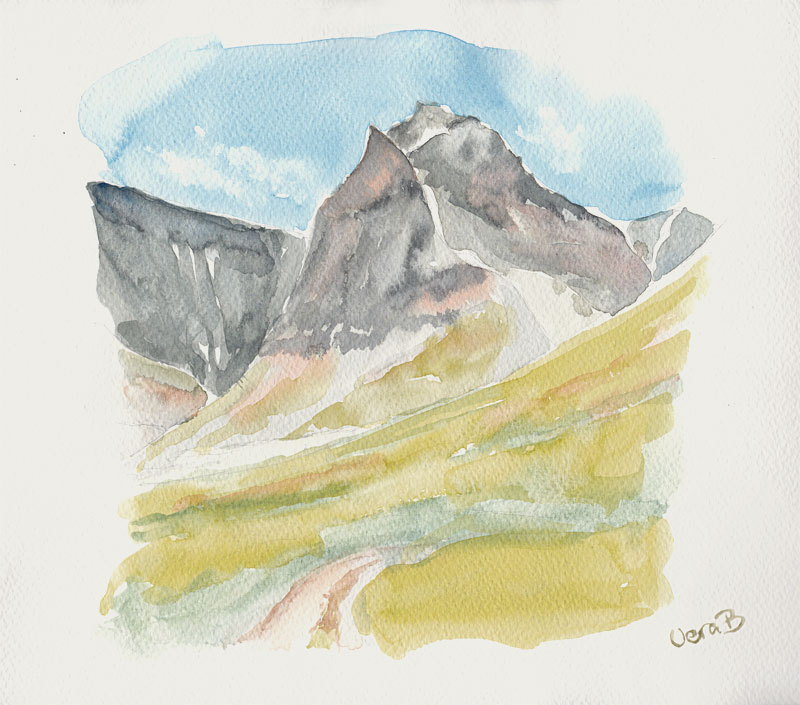 """Tolpagorni, Kebnekaise, summer sketch. Approx 22x25 cm (8,8x10"""") 2015. 134€"""