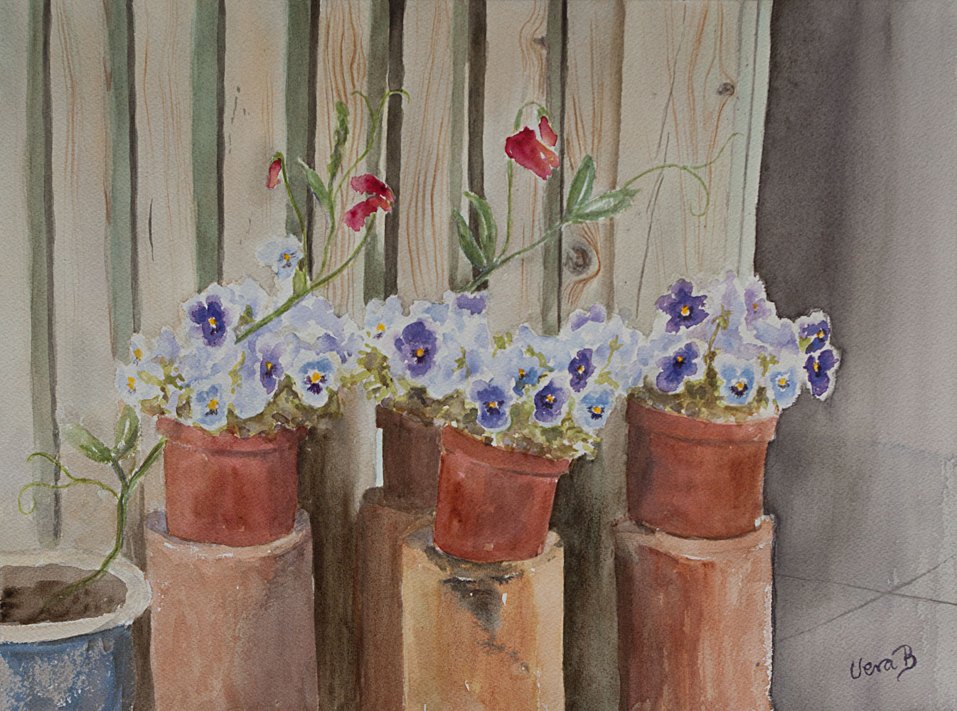 "Pansies by the entrance. 31x42 cm (12,4x16,8"") on Arches rough 300gsm 2016. SOLD"