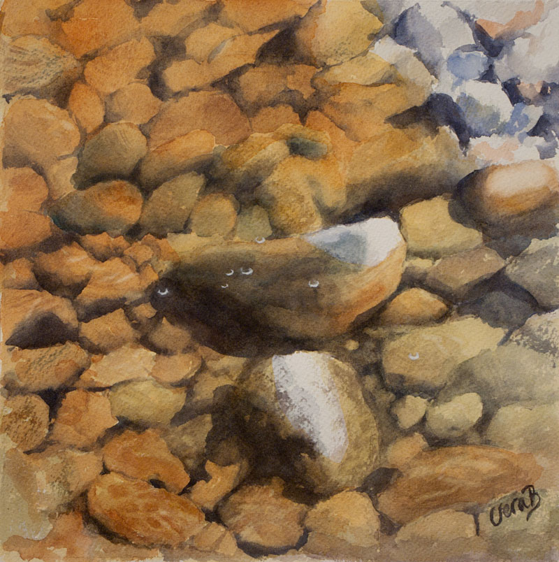 "Pebbles in rusty water. 22x22 cm (8,8x8,8"") on Arches fine 2016. 130€"