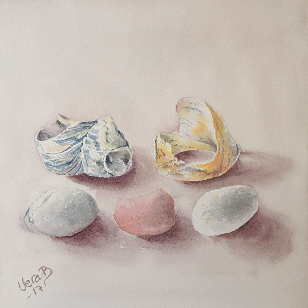 "Shells and stones. 25x25 cm (10x10"") on Arches rough 300gsm 2017. 168€"