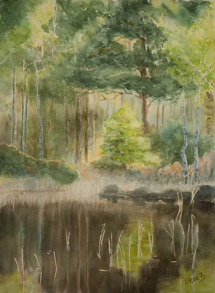"Spring in the forest. In contest winners, The Art of Watercolour no23/2016. 42x31 cm (16,8x12,4"") on Arches Not 300gsm 2016. 350€"