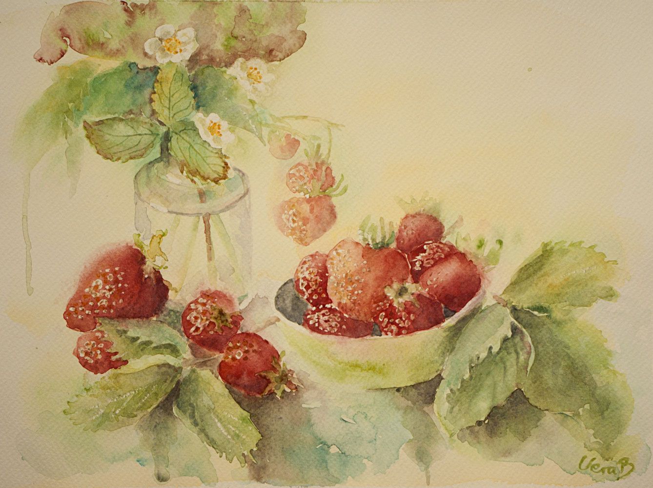 "Strawberries. 22x30 cm (8,8x12"") on Sennelier 300gsm 2015 Private."