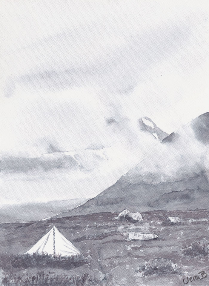 "Tenting by Tolpagorni, Kebnekaise. 30x22 cm (12x8,8"") on Sennelier 300gsm 2015. 175€"