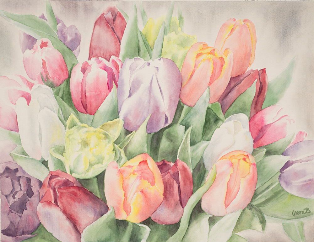 "Tulip cascade. 33x43 cm (13,2x17,2"") on Arches Not 300gsm 2015. SOLD"