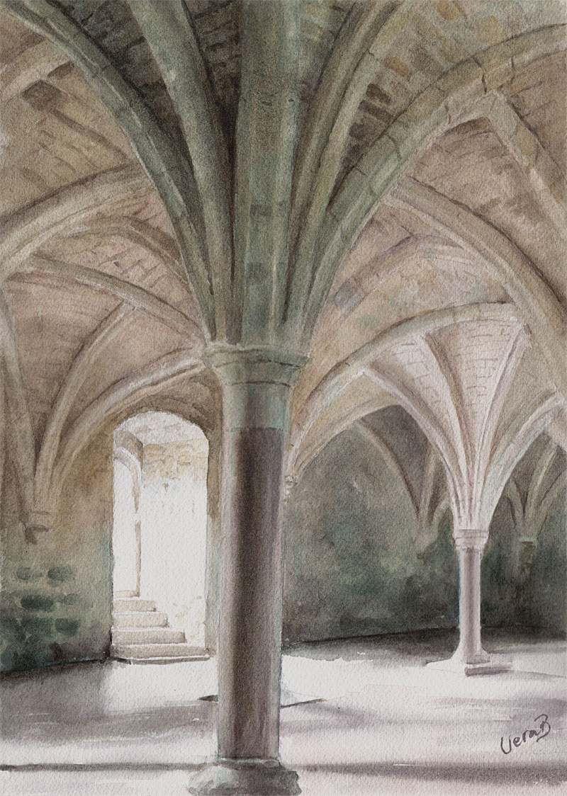 "Vaults and pillars I (Arches on Arches). Series 1/3 36,5x26 cm (14,6x10,4"") on Arches Not 300gsm 2016."