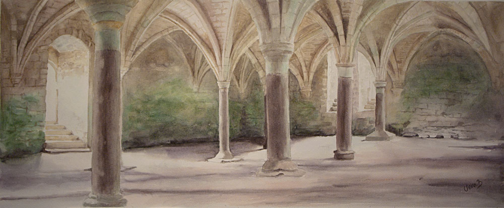 "Vaults and pillars III (Arches on Arches). Series 3/3 30x73 cm (12x29,2"") on Arches Not 300gsm 2016."