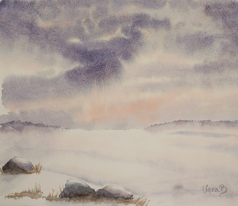 """Winter landscape, inspired by a very old and very big oil painting. Approx 26x28 cm (10,4x11,2"""") 2015. 134€"""