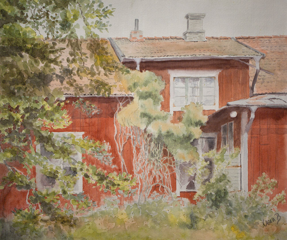 "Where Granny lived. In juried member exhibition NAS (Nordic Watercolour Society) 2016. 33,5x40 cm (13,4x16"") on Arches Not 300gsm 2016. Framed, 429€"