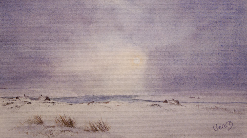 """Wintermood in Shetland. Approx 18x30cm (7,2x12"""") on Hahnemühle 300gsm 2015. 130€"""