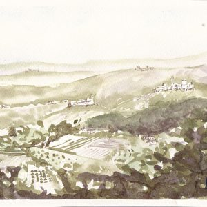 "Landscape around Fermo, Marche region, Italy. Loose, painted from memory on Fabriano Artistico paper 18x27 cm (7x11"") 130€"