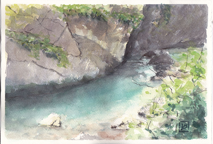 "The Sentino river in Marche, Italy. Loose small impression on Fabriano Artistico paper. 18x27 cm (7x11"") 130€"