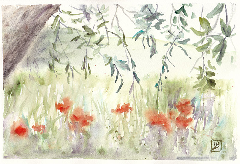 "Poppies under the olive tree. Quick impression from a visit to Italy in May, Fabriano Artistico paper 18x27 cm (7x11"") 130€"