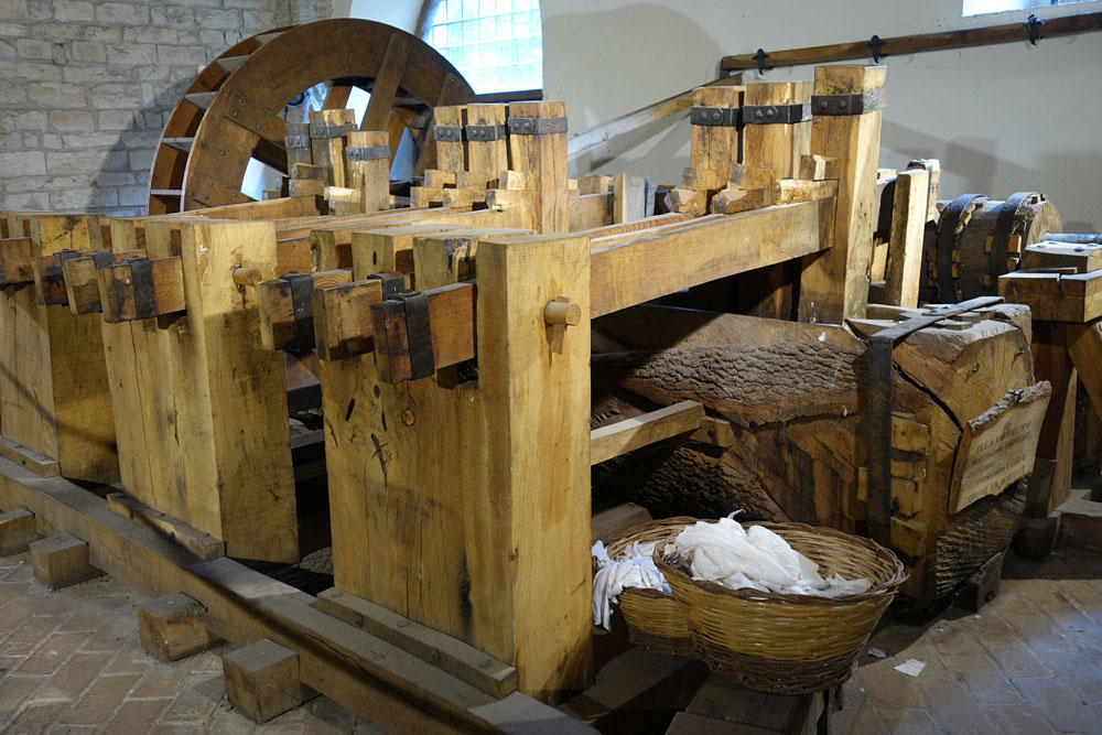 Fabriano paper museum, water powered machinge for beating rags into paper pulp.